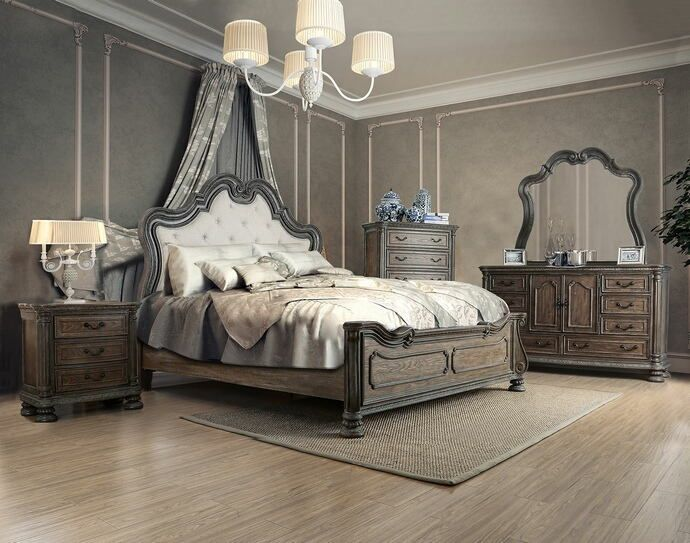 Cm7662 5 Pc Ariadne Rustic Natural Tone Finish Wood Queen Padded