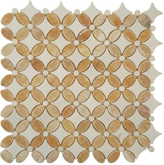 Mirage Glazzio Fs75 Flower Series Honey Onyx Thos White Mosaic Tile