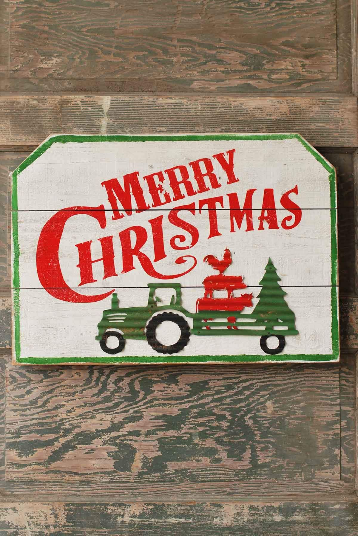Merry Christmas In Farmhouse Style This Wood Sign With Metal