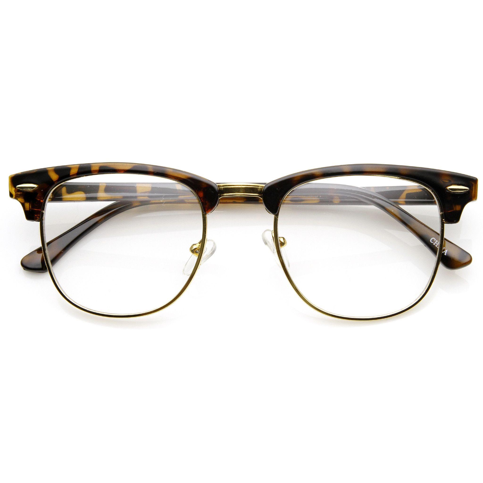 Vintage Dapper Half Frame Clear Lens Clubmaster Wayfarer Glasses ...