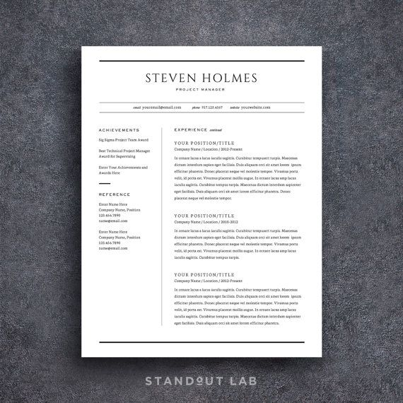 Resume Template and Cover Letter Template, Professional Design CV ...