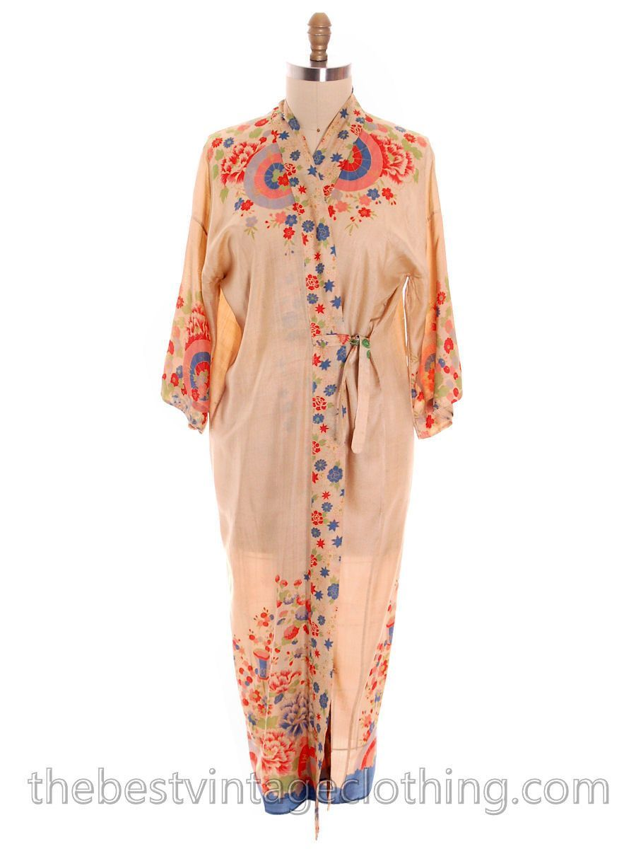 Gorgeous Silk 1920s Vintage Dressing Gown Robe Coat Scarf Weight ...