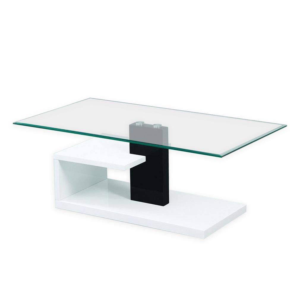 Fab Glass And Mirror 43 In White Black Large Rectangle Glass Coffee Table With Glossy Stylish Base Fgm Bc119 The Home Depot Coffee Table Glass Coffee Table Rectangle Glass Coffee Table [ 1000 x 1000 Pixel ]