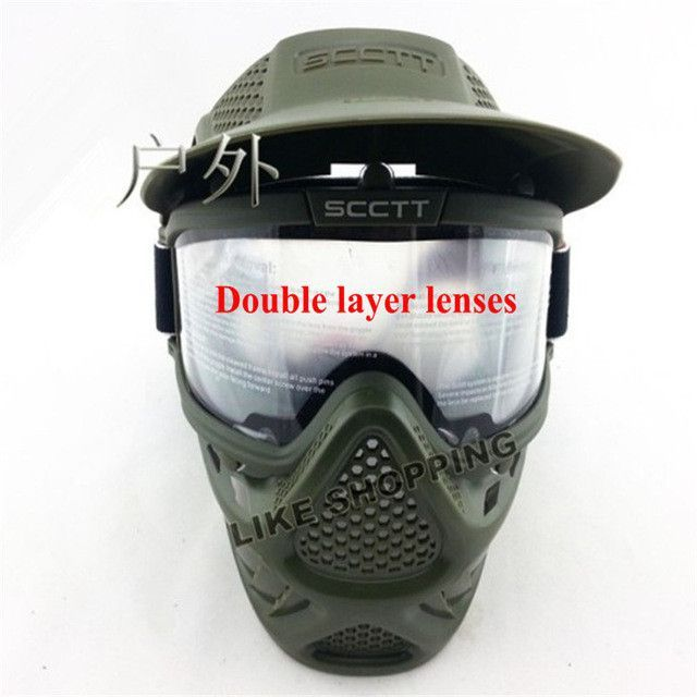 Tactical military anti fog lens face double mask new paintball Air soft Games Goggles