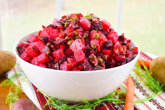Vinegret Russian Beet Potato Salad (Винегрет)   Whole Made Living   Recipe    Beet salad, Cooking beets, Salad