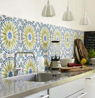 Kitchen Backsplash Wallpaper custom splashback - wallpaper behind clear glass | home: kitchen