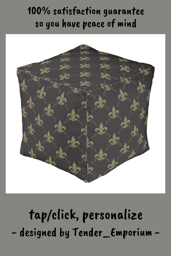 Luxurious Black Gold Fleur De Lis Pattern Pouf #fleur #de #lis #gold #royal #Pouf