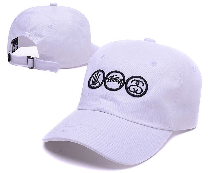 Men s   Women s Stussy Crown Stock and SS Link Logo Signature Baseball  Adjustable Dad Hat - White 673a3b58048a