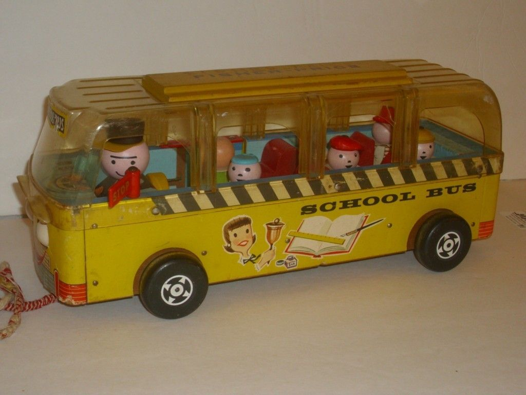 1959 fisher price 983 safety school bus w little people. Black Bedroom Furniture Sets. Home Design Ideas