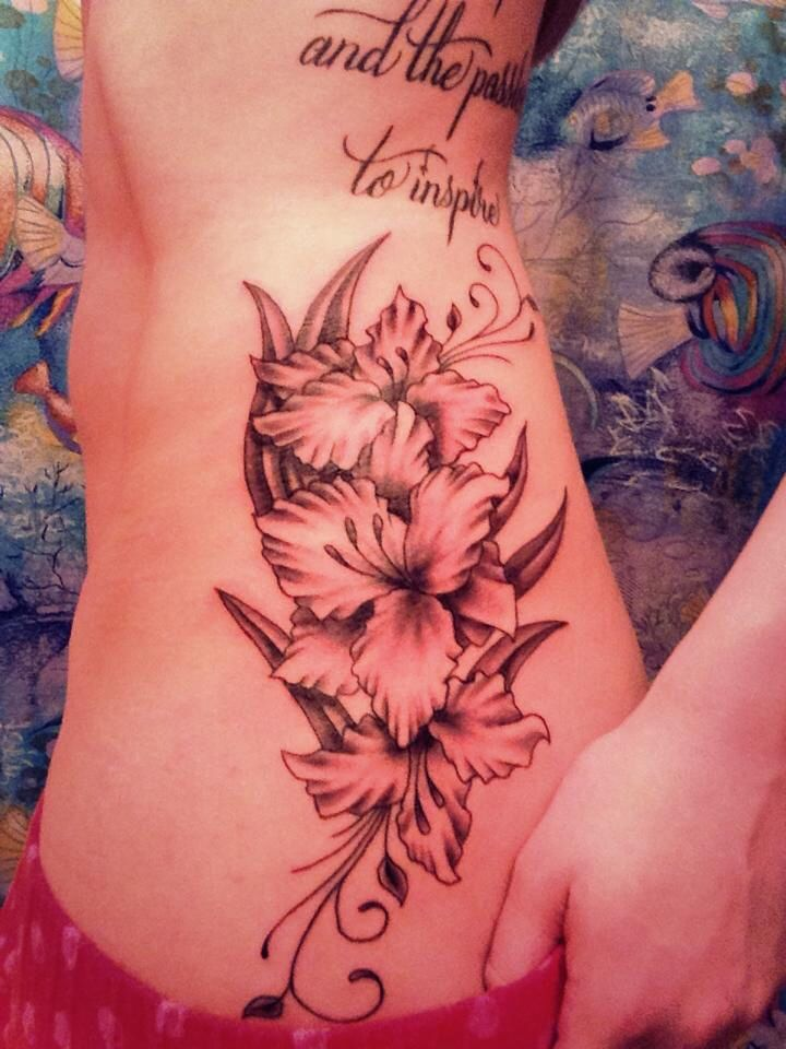 Gladiolus Flowers tattoo. Meaning: strength