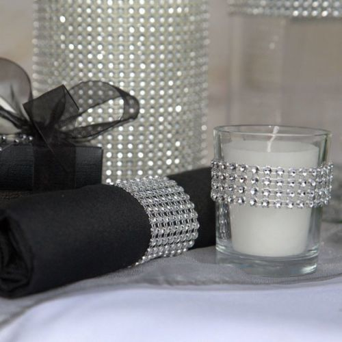 Silver Wedding Party Decoration Supplies Rhinestone Diamond Wrap Ribbon Mesh L68