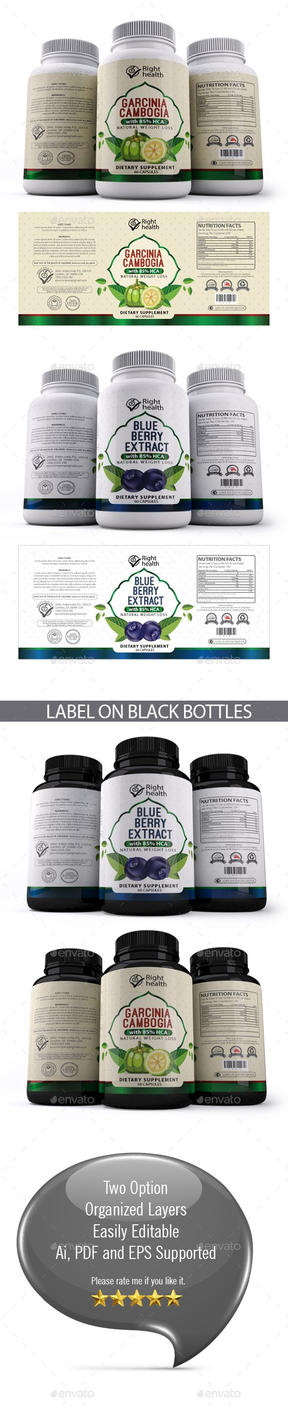 Supplement Label Templates AI Illustrator | Premium Packaging ...