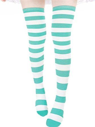 75c56874353 ZANZEA Sexy Lady Over The Knee Thigh High Long Striped Stocking In three  Colours Blue thick at Amazon Women s Clothing store