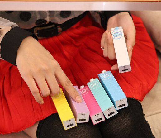 Milk carton portable power bank charger,different colors ,2600mah