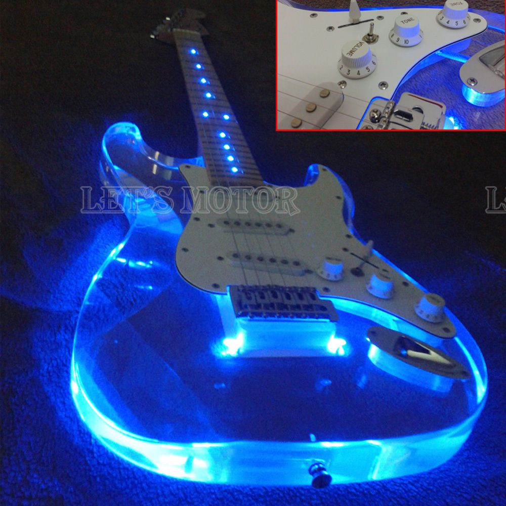hight resolution of new transparent glass electric guitar with blue led light 6 string rosewood