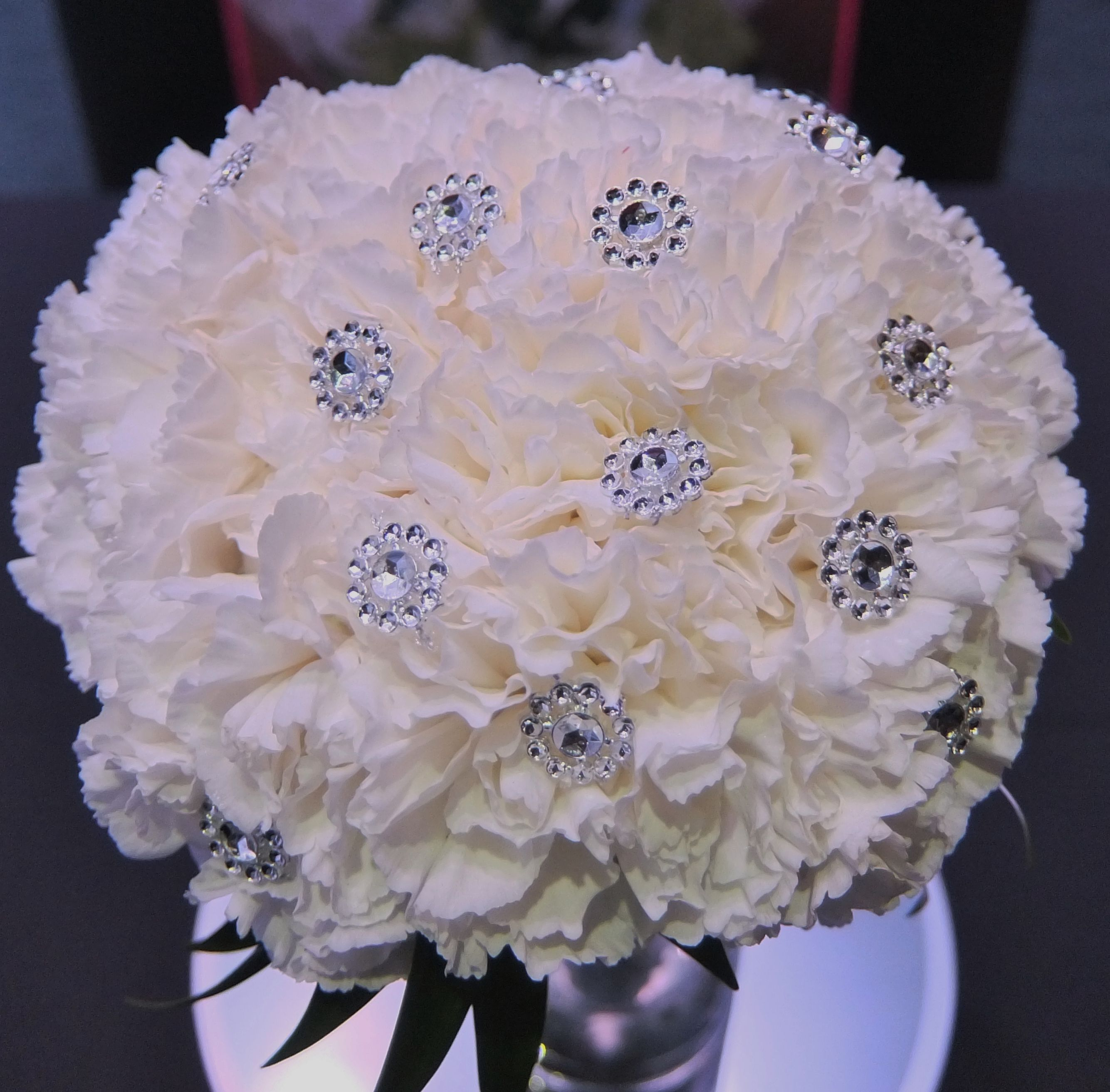 Gorgeous White Wedding Inspiration Bridalguide: Beautiful White Carnation Brides Bouquet With Bling By