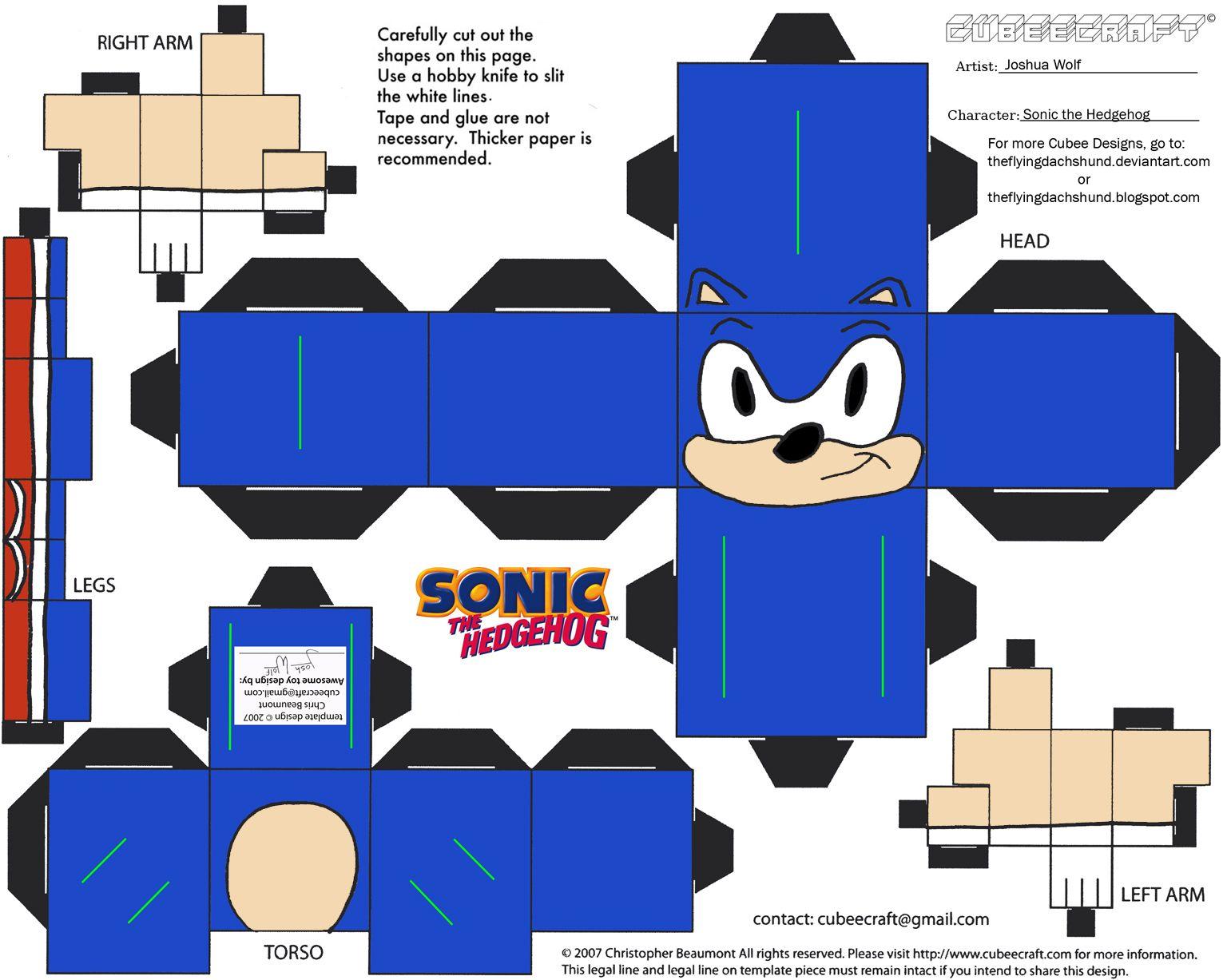 Vg 4 Sonic Cubee By Theflyingdachshund On Deviantart Paper Toys Sonic Birthday Sonic Party