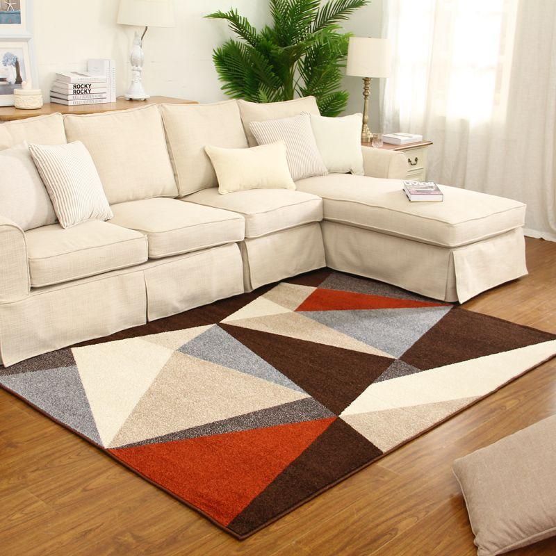 Modern living room geometry rug coffee table bedroom rugs and