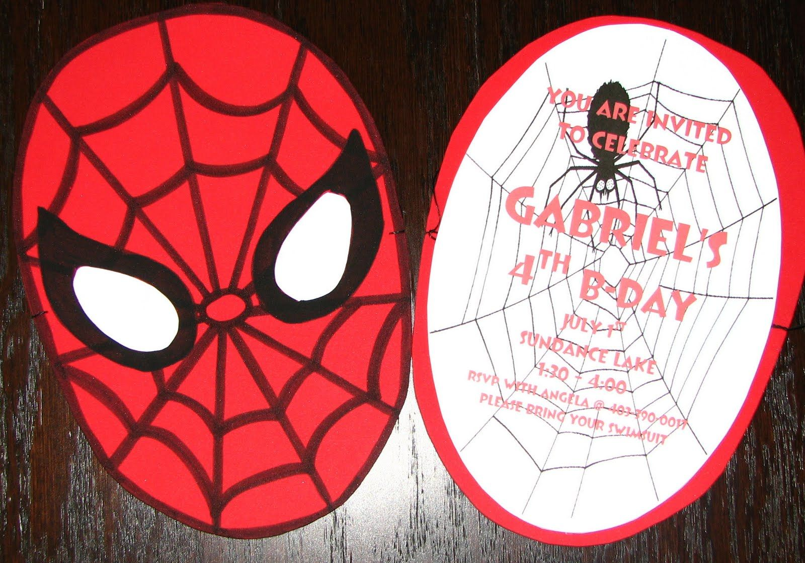 DIY Homemade Spider Man Birthday Invitations