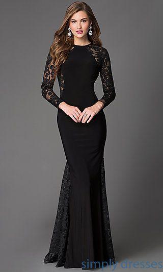 Lace Floor Length Long Sleeve Xcite Formal Dress   Pinterest   Dress ...