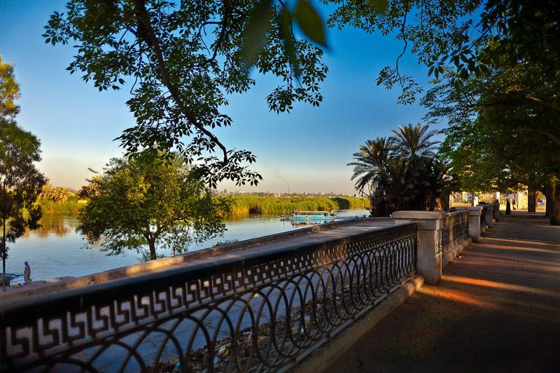 Along the Nile River, Egypt. FACT: North of Cairo, the Nile splits into two branches that feed the Mediterranean: the Rosetta branch to the west and the Damietta branch to the east.