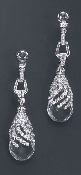 A pair of diamond and rock crystal ear pendants jwel pinterest a pair of diamond and rock crystal ear pendants aloadofball Gallery