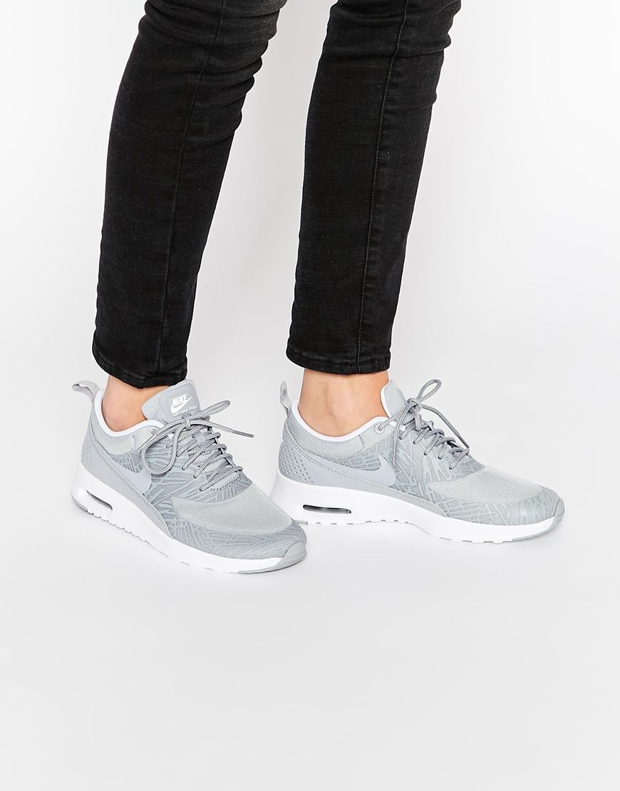 Image 1 of Nike Platinum Grey Print Air Max Thea Trainers
