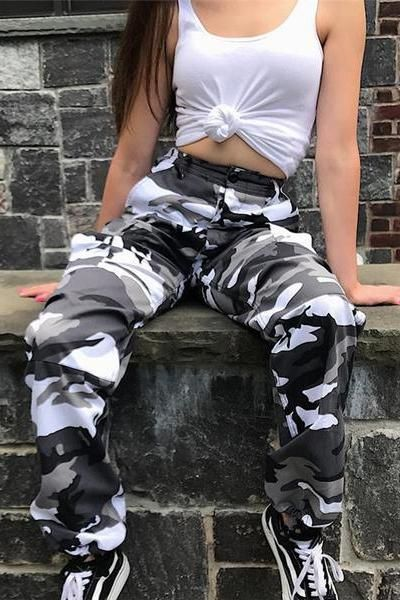 32ff9bb504284 6 Colors Contrast Camouflage Loose Cool Pants in 2019 | pants | Camo ...