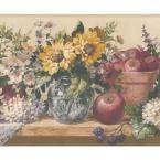 Retro Art White Yellow Blue Flowers in Pots Blueberry Apple on Kitchen Table Vintage Prepasted Wallpaper Border, Multi #blueflowerwallpaper