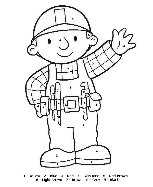 Color By Numbers Page Print Your Free Color By Numbers Page At Allkidsnetwork Com Bob The Builder Coloring Pages Coloring Books