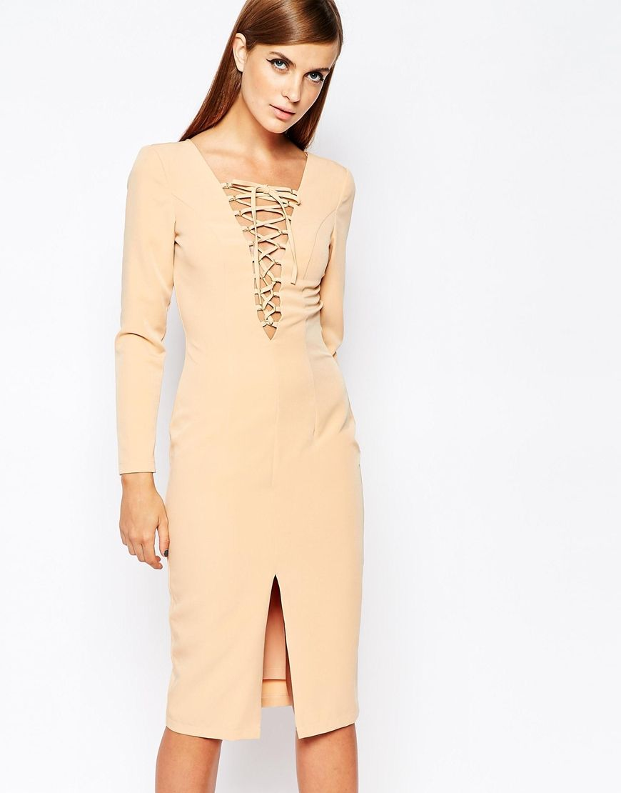 The 8th Sign Lace Up Front Longsleeve Bodycon Dress | Dress ...