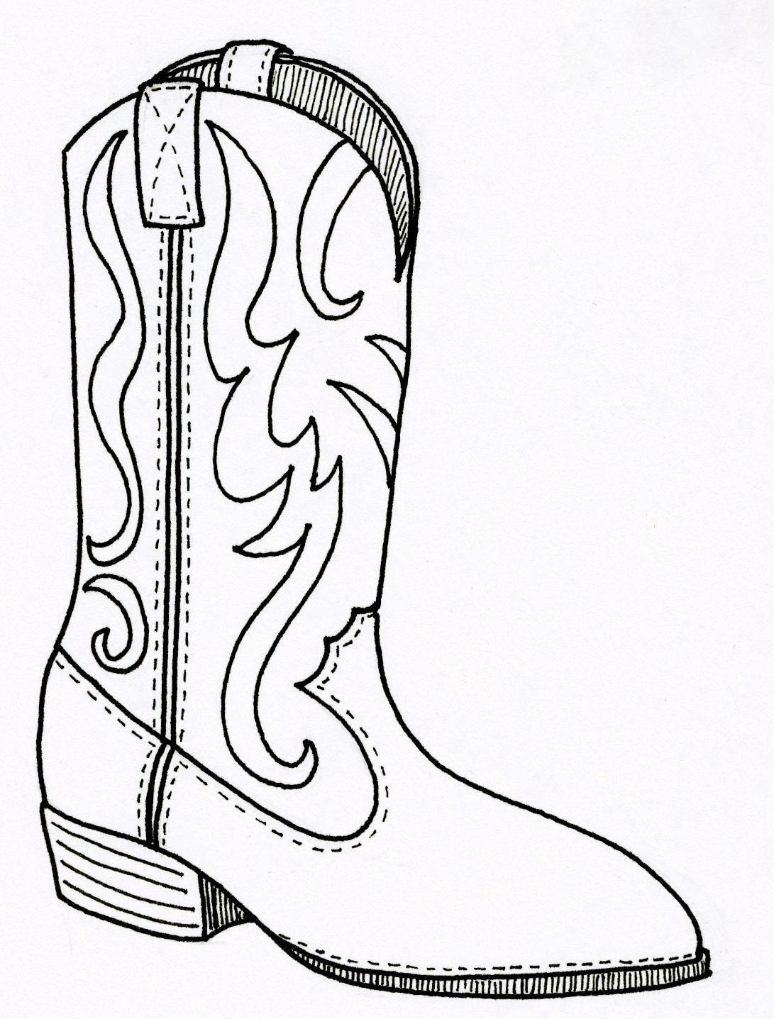 cowboy boots coloring pages free - photo#4