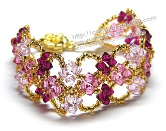 Sweet Rose and Pink in Gold crystal Bracelet by by candybead, $19.50