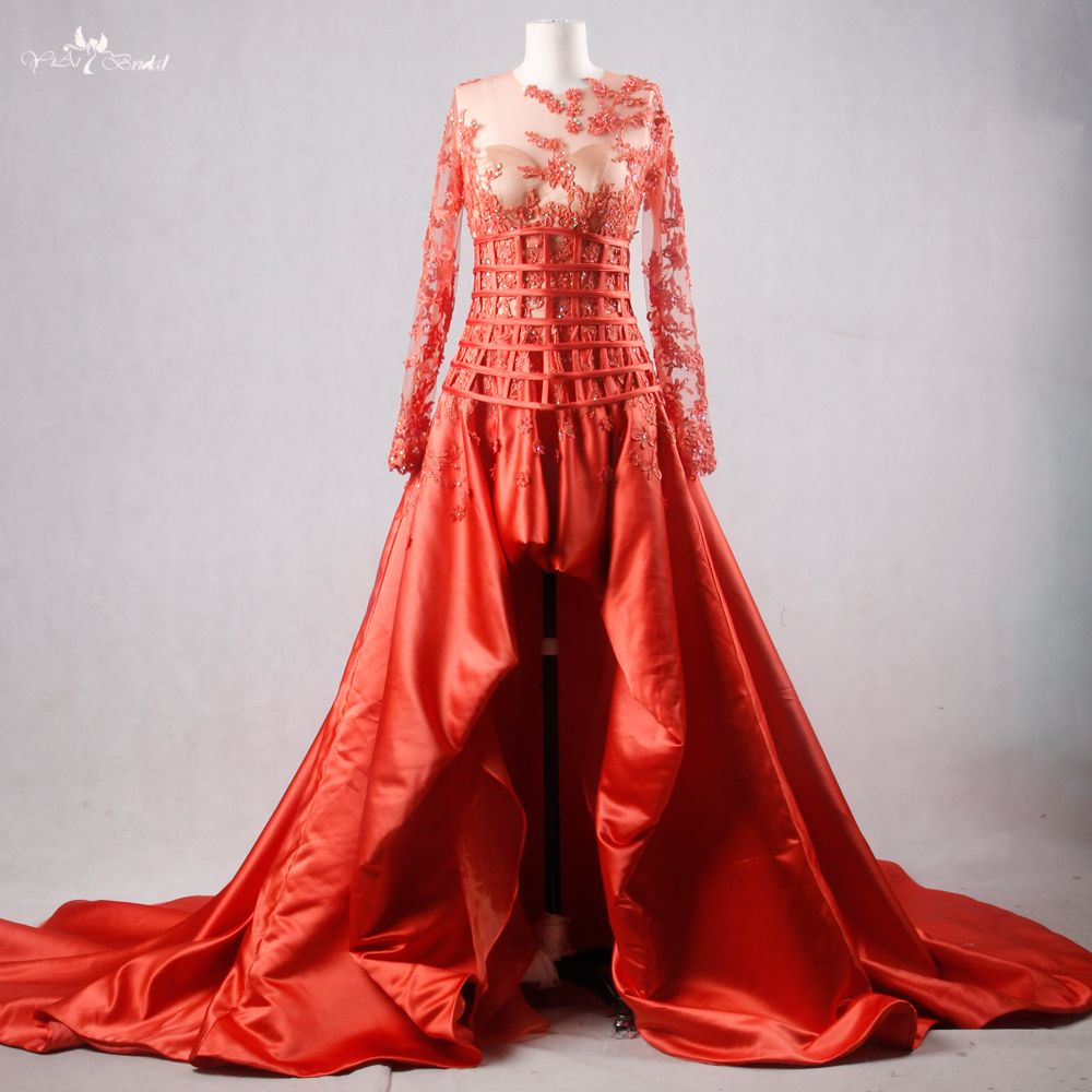 Rse real pictures yiaibridal persimmon satin boned lattice