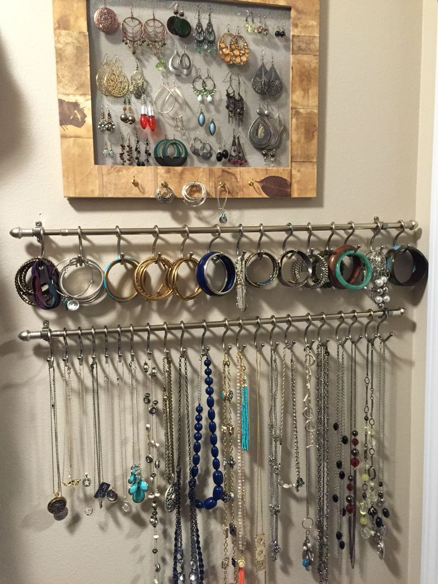 Made The Earring Holder From A Frame And Wire Mesh Stapled To Back Bracelet Necklace Holders Are Curtain Rods With Shower Hooks
