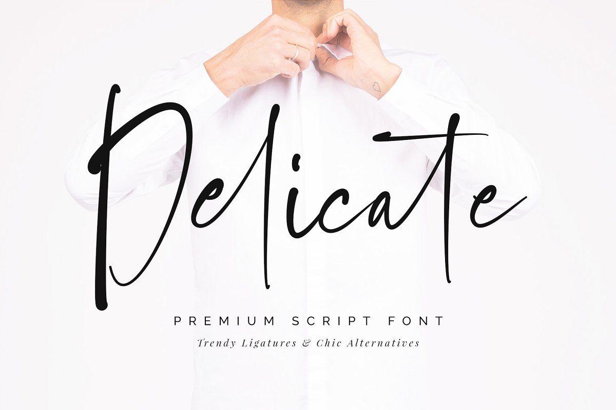 Delicate script font