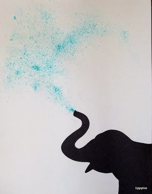 Sprinkle blue jello or kool-aid powder on paper, spray with