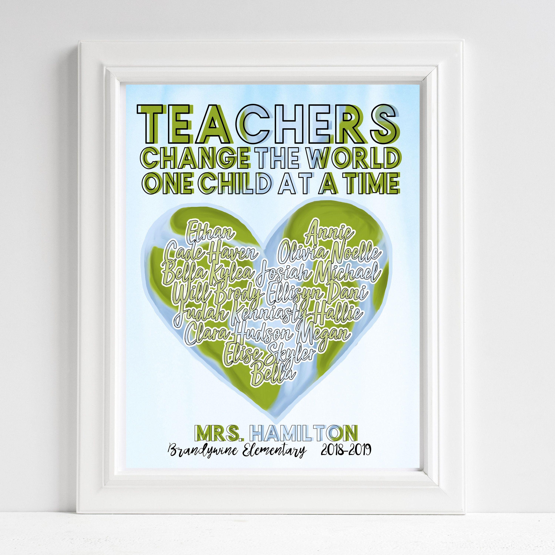 16x20 Or 24x36 Poster Teacher Gift Teachers Change The World