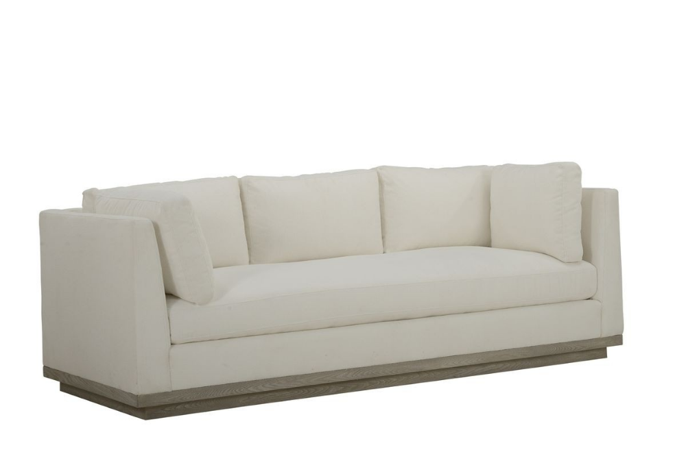 The Inviting Multi Pillow Cruz Sofa Is Upholstered In A Durable White Performance Fabric And Floats On A Recessed Plinth Base In Gray Wash A St Sofa