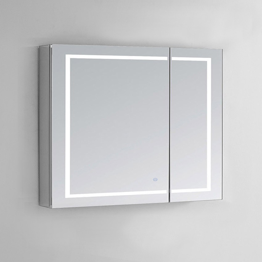 Aquadom 36 X 30 Inch Medicine Cabinet With Light Without Clock Lighted Recessed Bathroom Design Plans