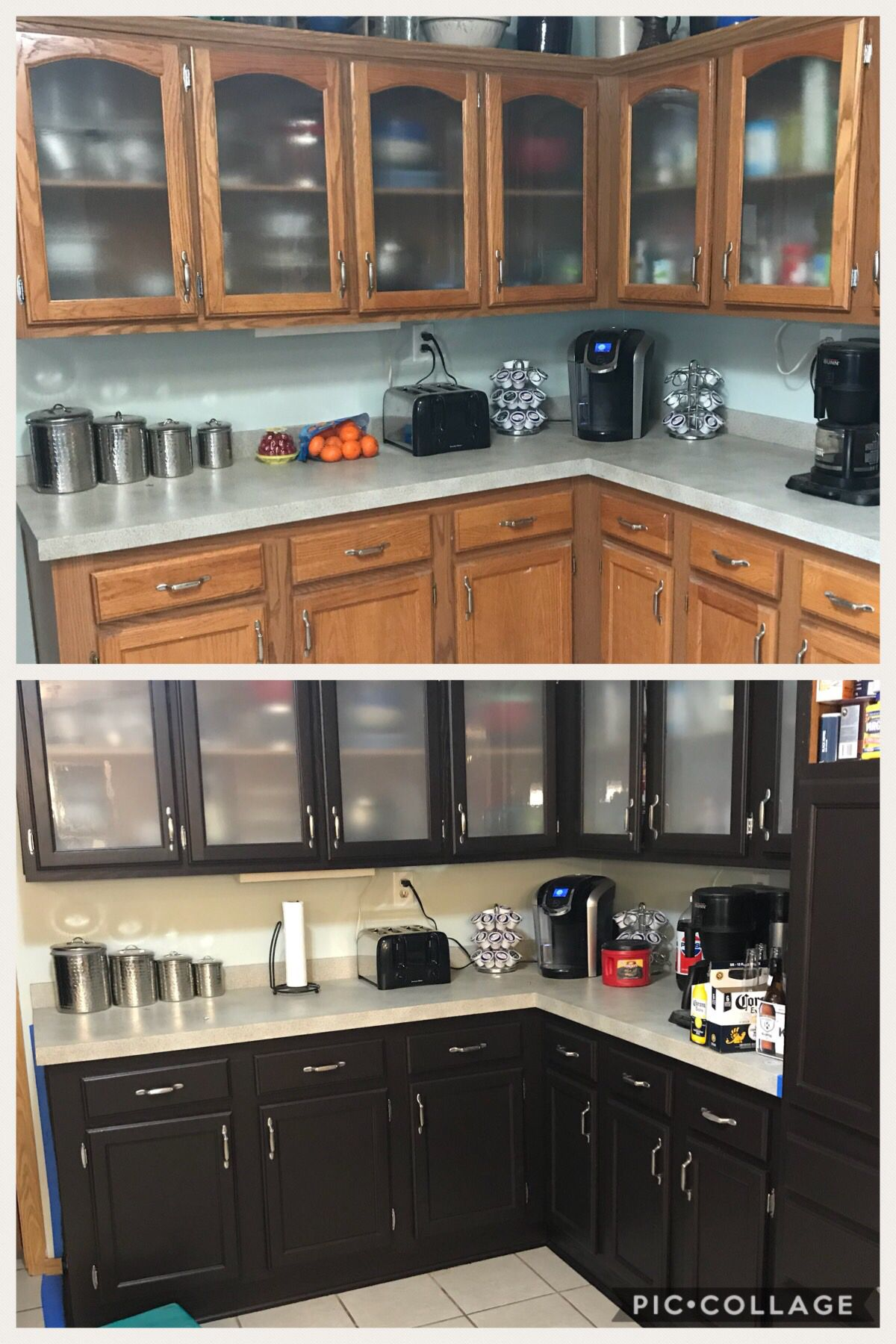 General Finishes Milk Paint In Dark Chocolate Before And After On Our Orangey Oak Kitchen Cabinetry Design Milk Paint Kitchen Cabinets Painting Oak Cabinets