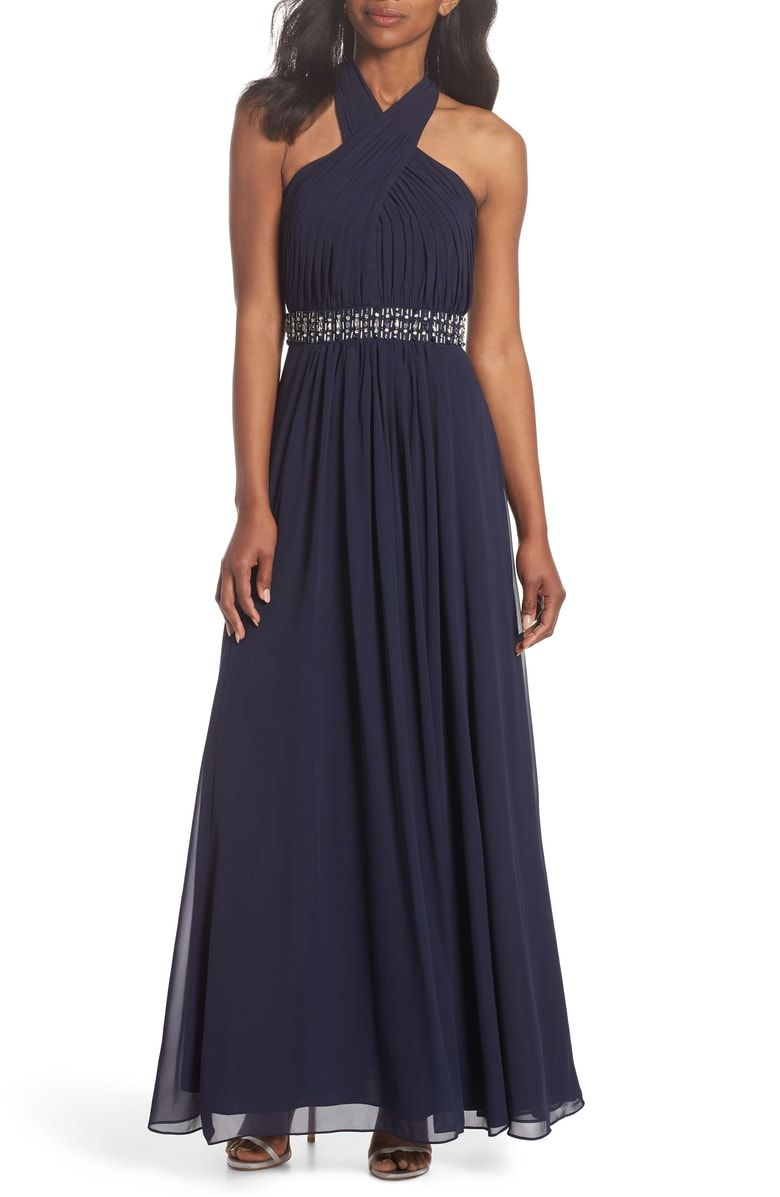 Free shipping and returns on eliza j halter pleated cross neck gown
