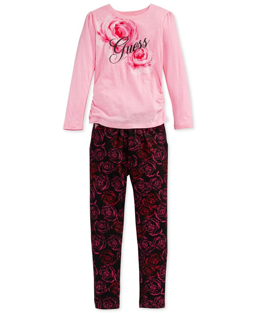 Guess Little Girls' 2-Piece Rose T-Shirt & Leggings Set