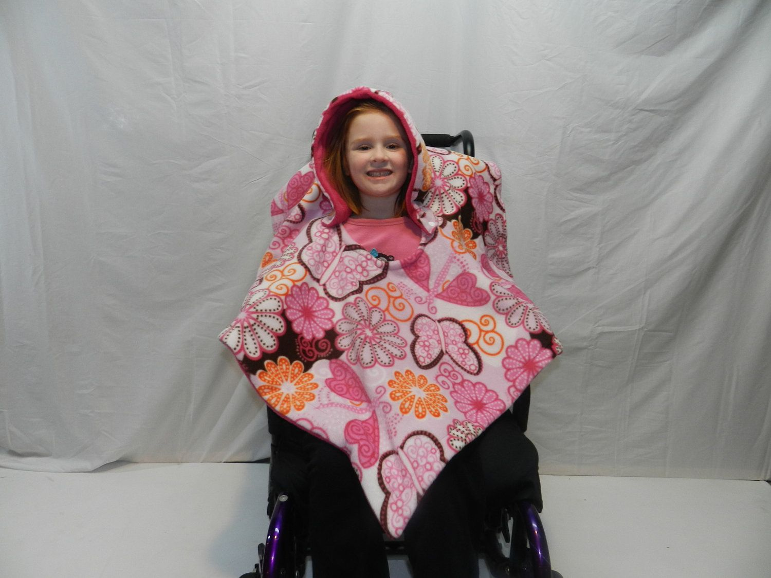 Girls wheelchair poncho blanket cover years old adaptations