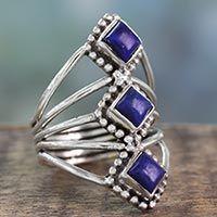 Lapis lazuli cocktail ring, 'Deep Blue Diamonds'