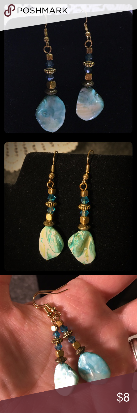 Shell earrings handcrafted by me! Shell, Swarovski crystal ...
