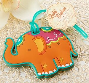 Lucky Elephant Luggage Tag Favors (Kate Aspen 17053NA) | Buy at Wedding Favors Unlimited (http://www.weddingfavorsunlimited.com/lucky_elephant_luggage_tag_favors.html).