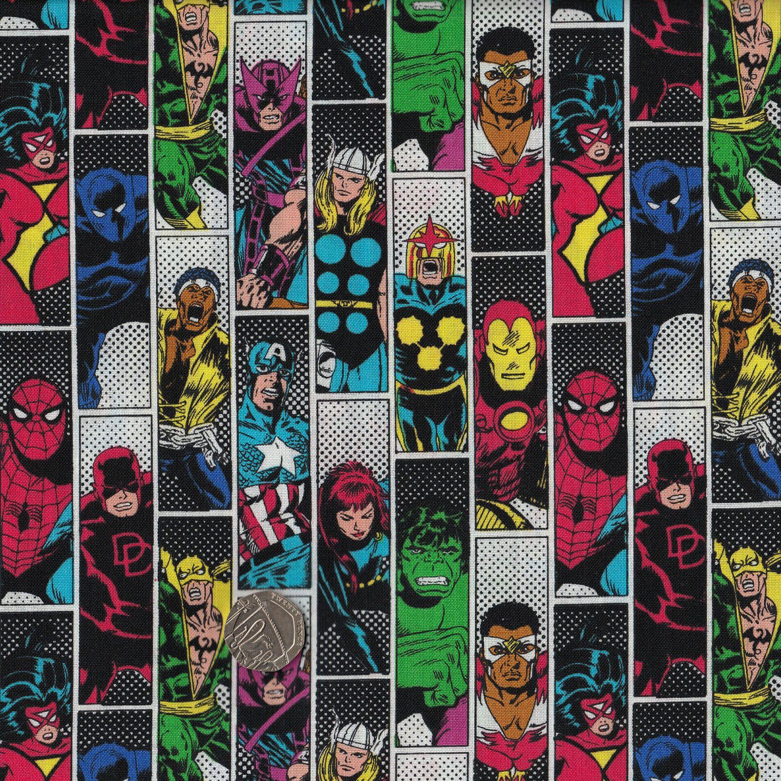 DISNEY Marvel Comics 100/% COTTON Fabric CAMELOT Avengers