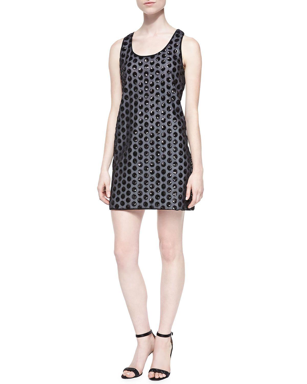 Kimberly Sequined Polka-Dot Dress, Black - Shoshanna