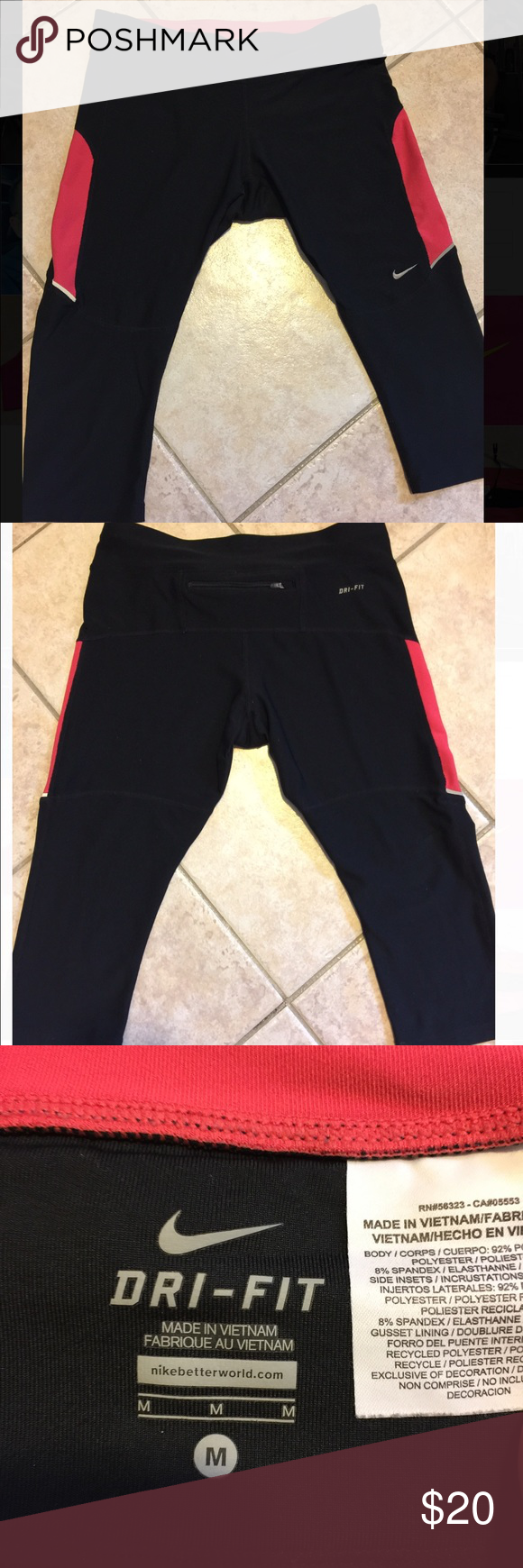 NIKE Relay Crop Leggings ✨Excellent used condition✨ Crops right under knee-tight all the way down. Strings to tighten waist band. Pocket with a zipper on the top back. Not see through! Nike Pants Leggings